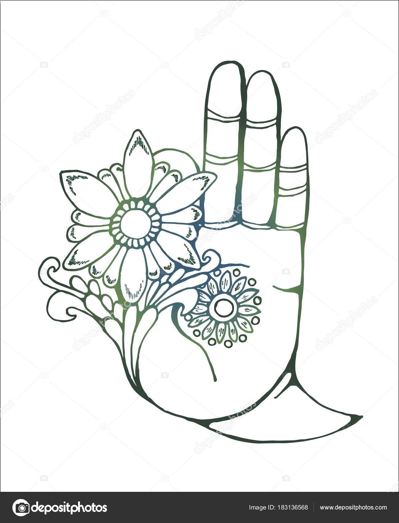 illustration d une main de bouddha tenant une fleur colorfull dessin image vectorielle. Black Bedroom Furniture Sets. Home Design Ideas