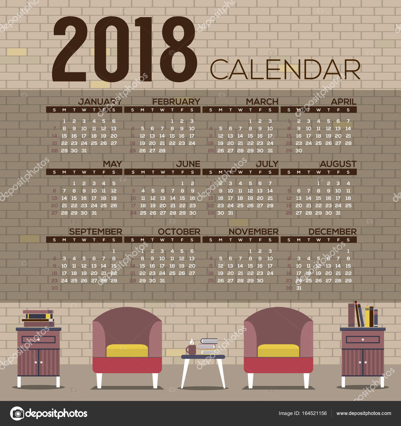 2018 acogedora sala de estar diseño plano imprimible calendario ...