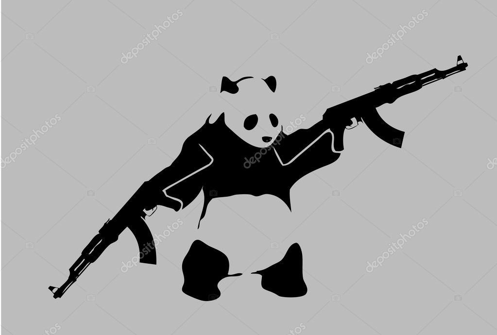 logo of panda bear with guns stock vector