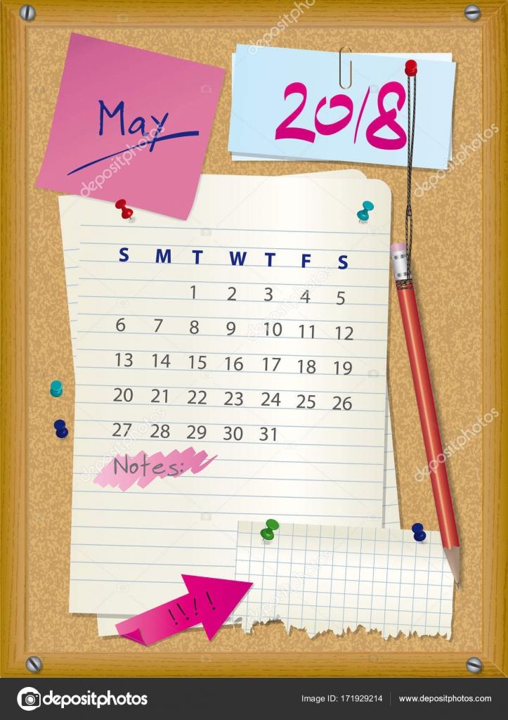 Calendario 2018 mes mayo cork junta con notas vector for Fondo de pantalla calendario 2018