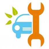 Fotografie Auto-Service-Schild - gesunde Umwelt, Bio-Konzept