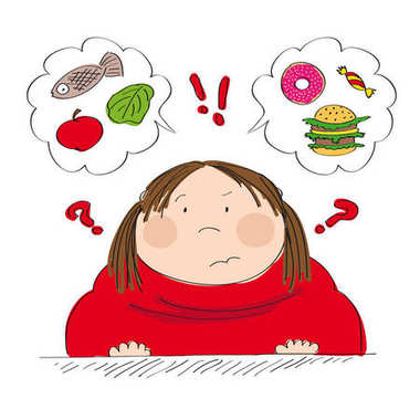 Dubious fat woman thinking of food, trying to decide what to eat