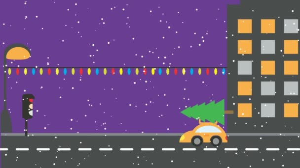 Weihnachts-städtischen Nacht-Szene - animierten Autos mit Geschenken ...