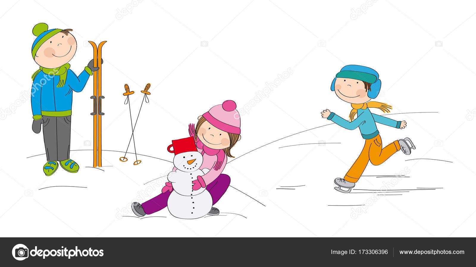 雪の中少年スキーヤーで外で遊ぶ子供たち ストックベクター Hancik