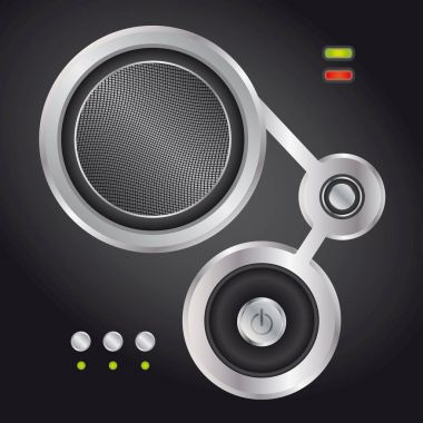 Audio speaker with on and off button - abstract illustration