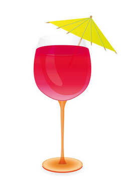 Cocktail with umbrella - vector illustration