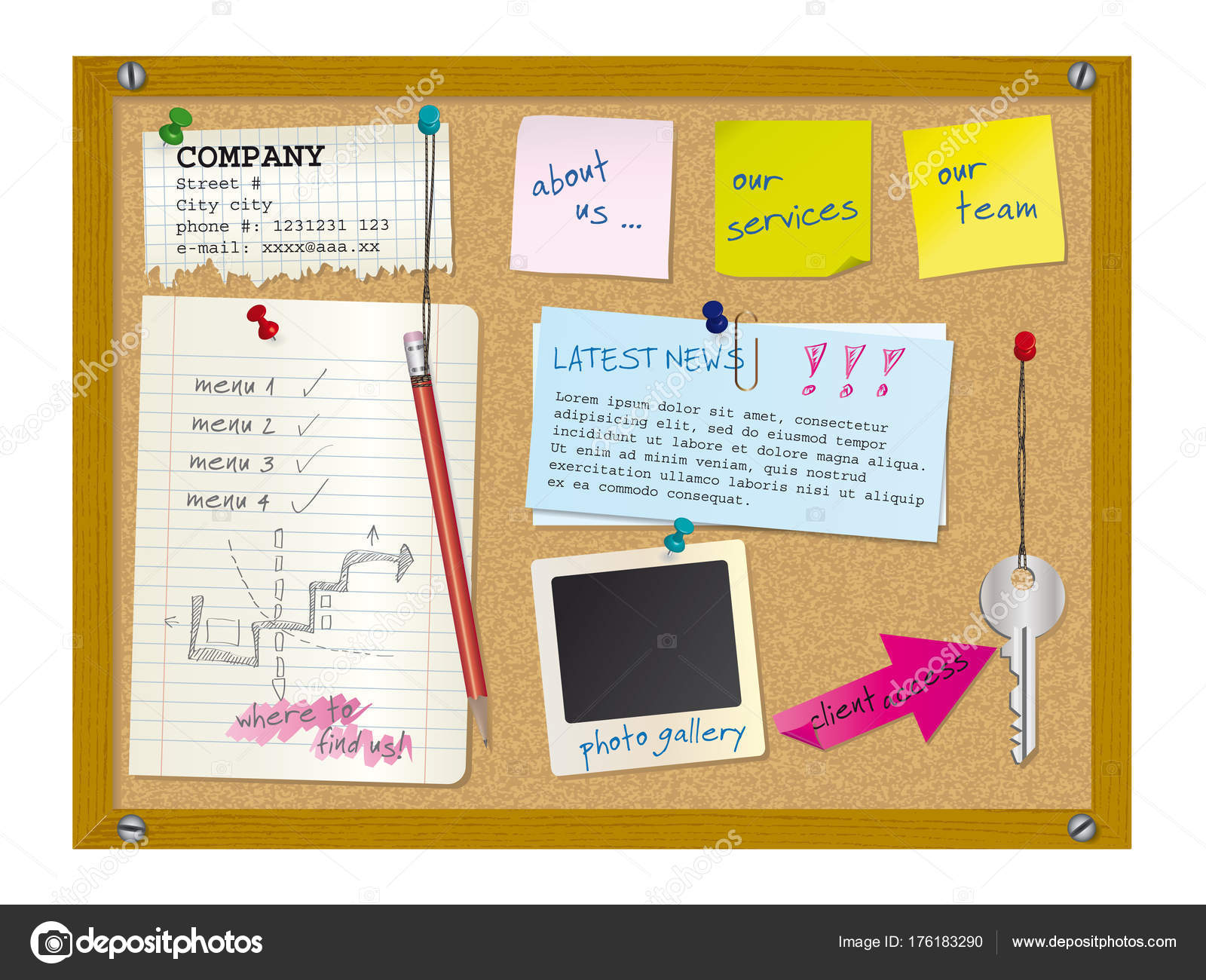 website design template cork board with notes stock vector