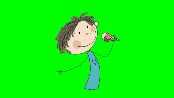 Animation of little boy licking ice cream, animated hand drawn cartoon character, loop able, on chroma key green screen background.