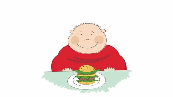 Animazione di un uomo grasso con lhamburger seduto in un fast food e cercando di decidere se mangiarla o non, animato mano disegnata personaggio dei cartoni animati