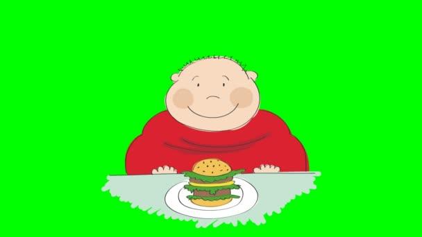 Animazione di un uomo grasso con lhamburger seduto in un fast food e cercando di decidere se mangiarla o non, animato mano disegnato il personaggio dei cartoni animati, su sfondo verde chiave di crominanza