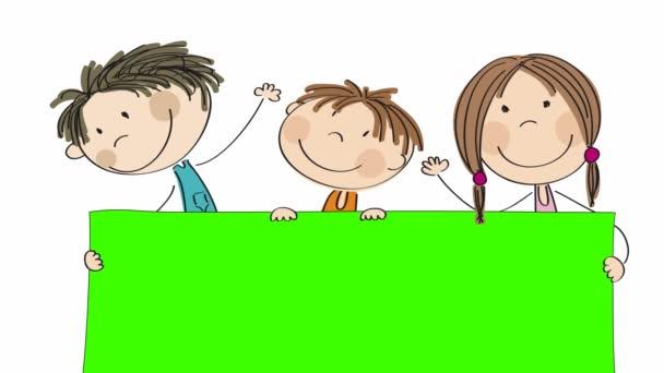 Animation von drei glücklichen kleinen Kindern, die hinter einem leeren Banner / Brett stehen, das sie in der Hand halten, animierte, handgezeichnete Zeichentrickfiguren, schleifenfähig, auf grünem Hintergrund mit Chroma-Taste.