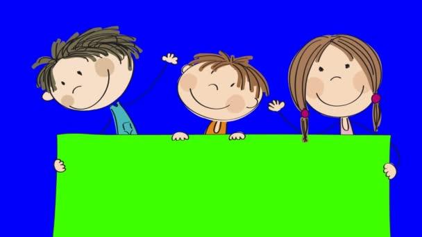 Animace ze tří šťastné malé děti stojící za prázdné banner / board, kterou mají v držení, animovaný ručně kreslenými postavičkami, kličková diuretika, schopen, na pozadí klíčových fabion chroma