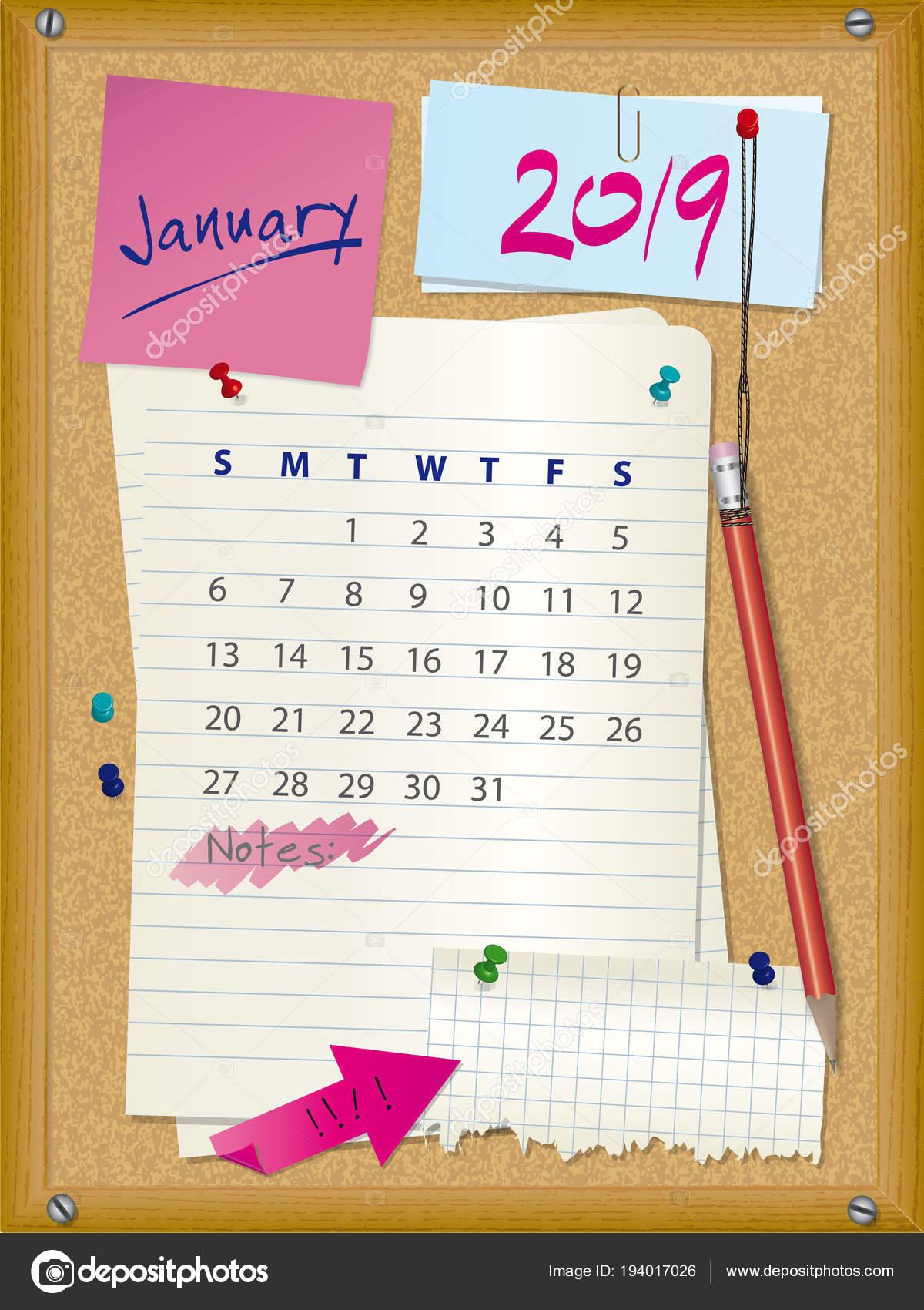 Mes De Enero 2019 Tablero De Corcho De Calendario 2019 Mes Enero