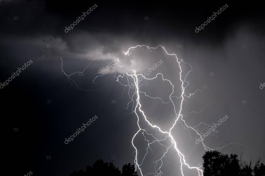 Black and White Lightning at Night