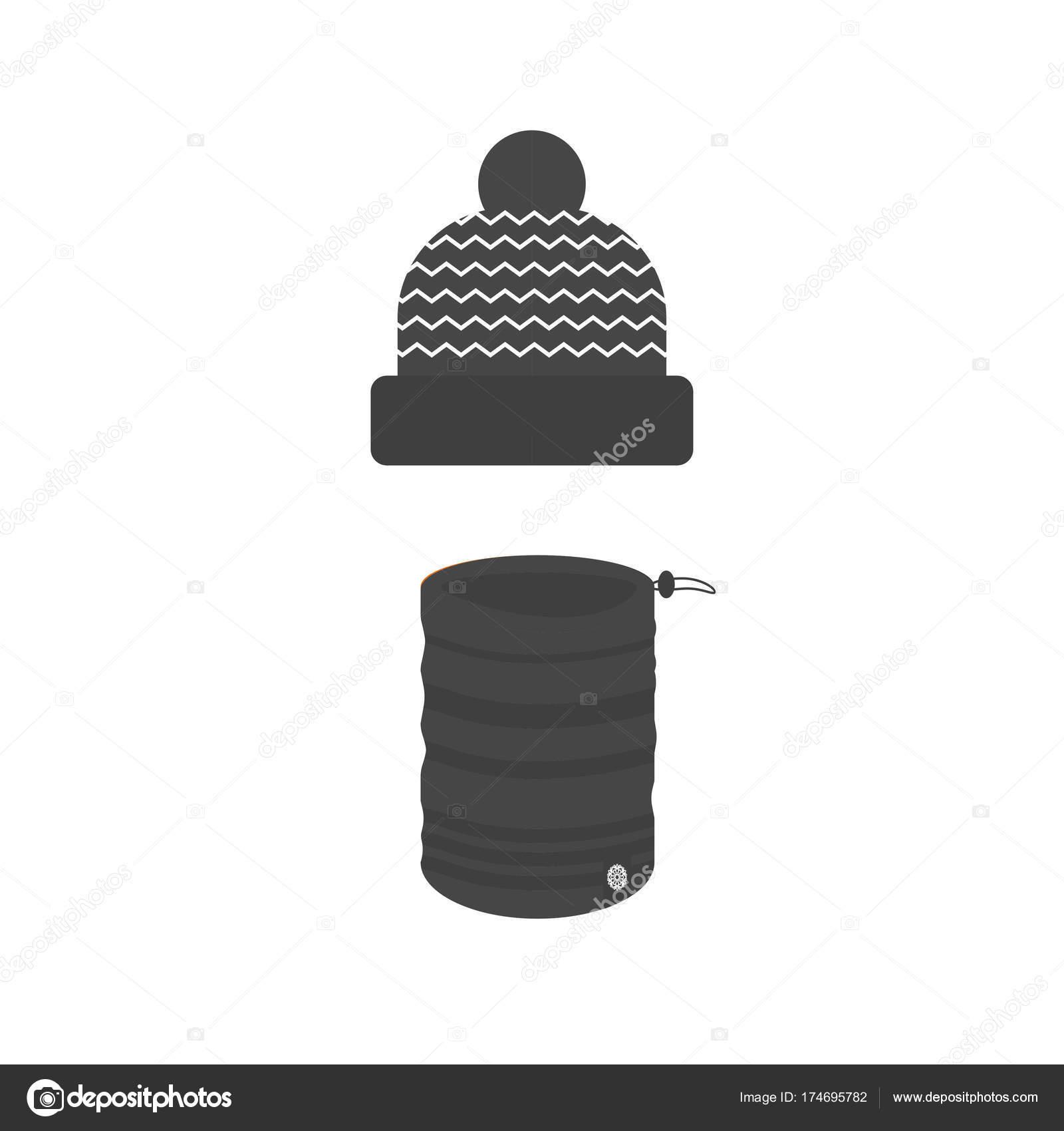 0f6db1969 Coleção de ícones do esporte inverno com cachecol e chapéu. Esqui e  snowboard conjunto acessórios isolados no fundo branco no design de estilo  simples.