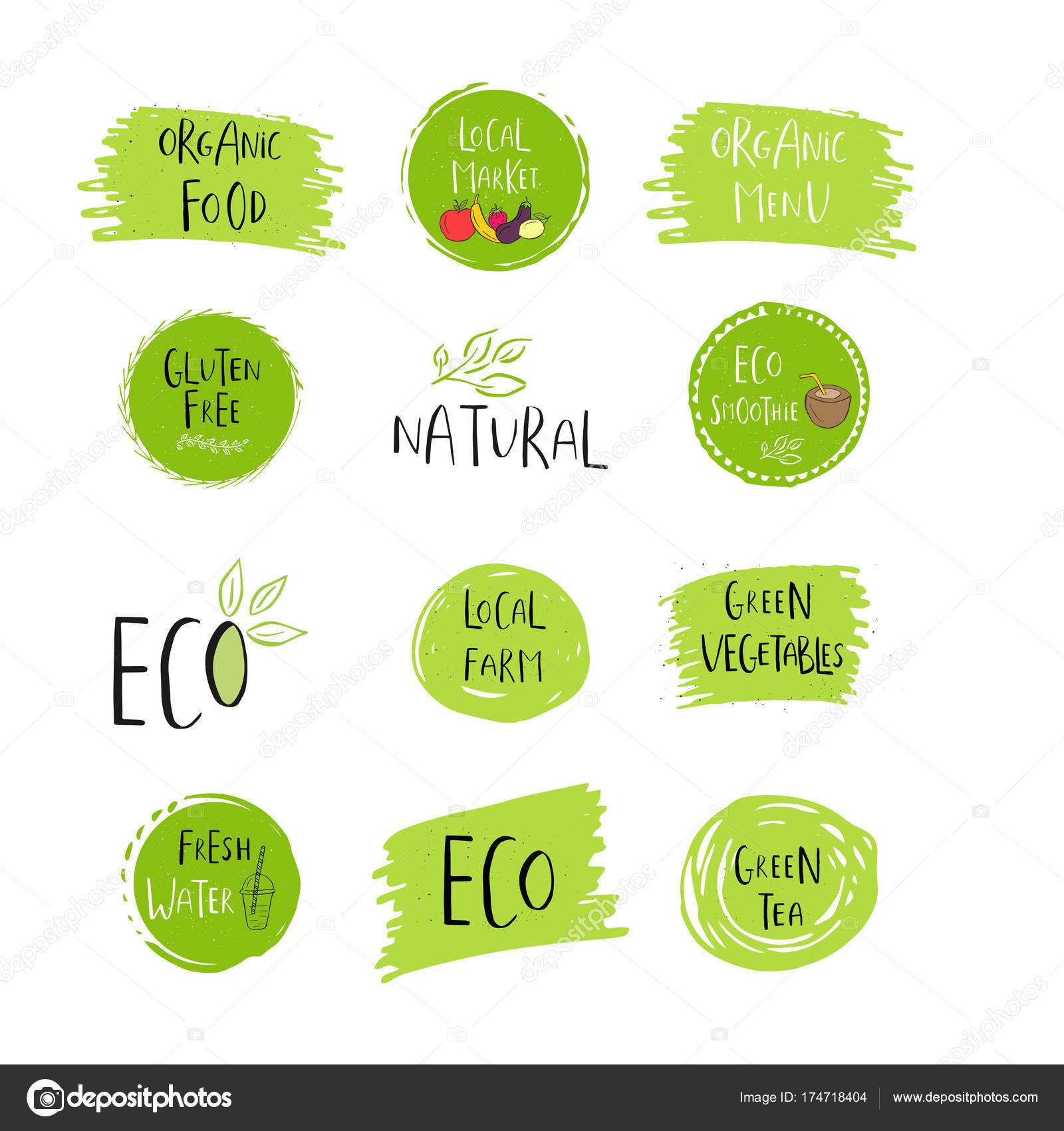 Sammlung Von Vektor Öko Bio Grüne Logos Oder Zeichen Vegan ...