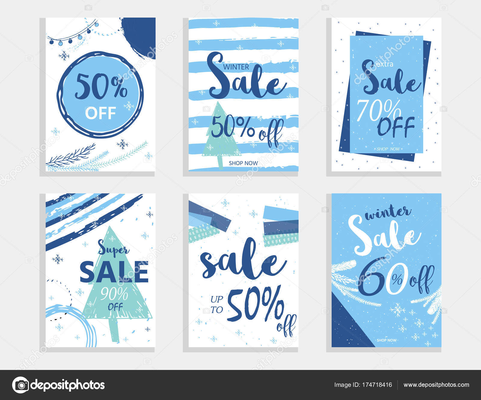 winter social media sale banners ads web templates collection