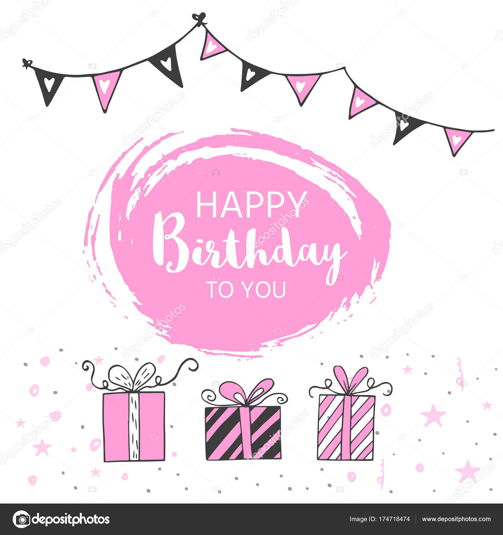 Happy Birthday Greeting Card Party Invitation Template Black Pink
