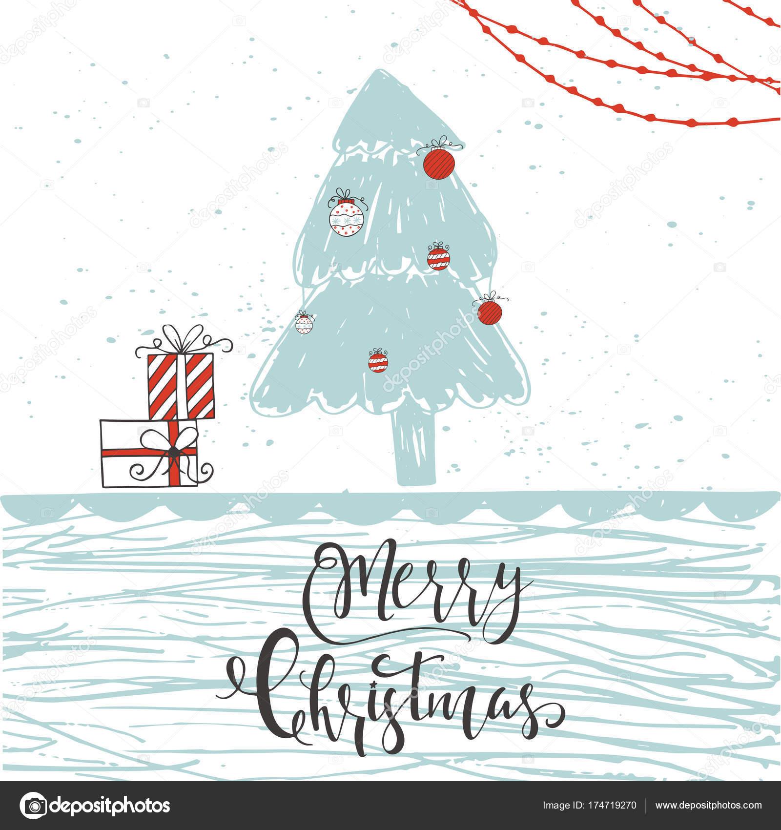 レタリング引用メリー クリスマスとかわいいクリスマス ギフト カード
