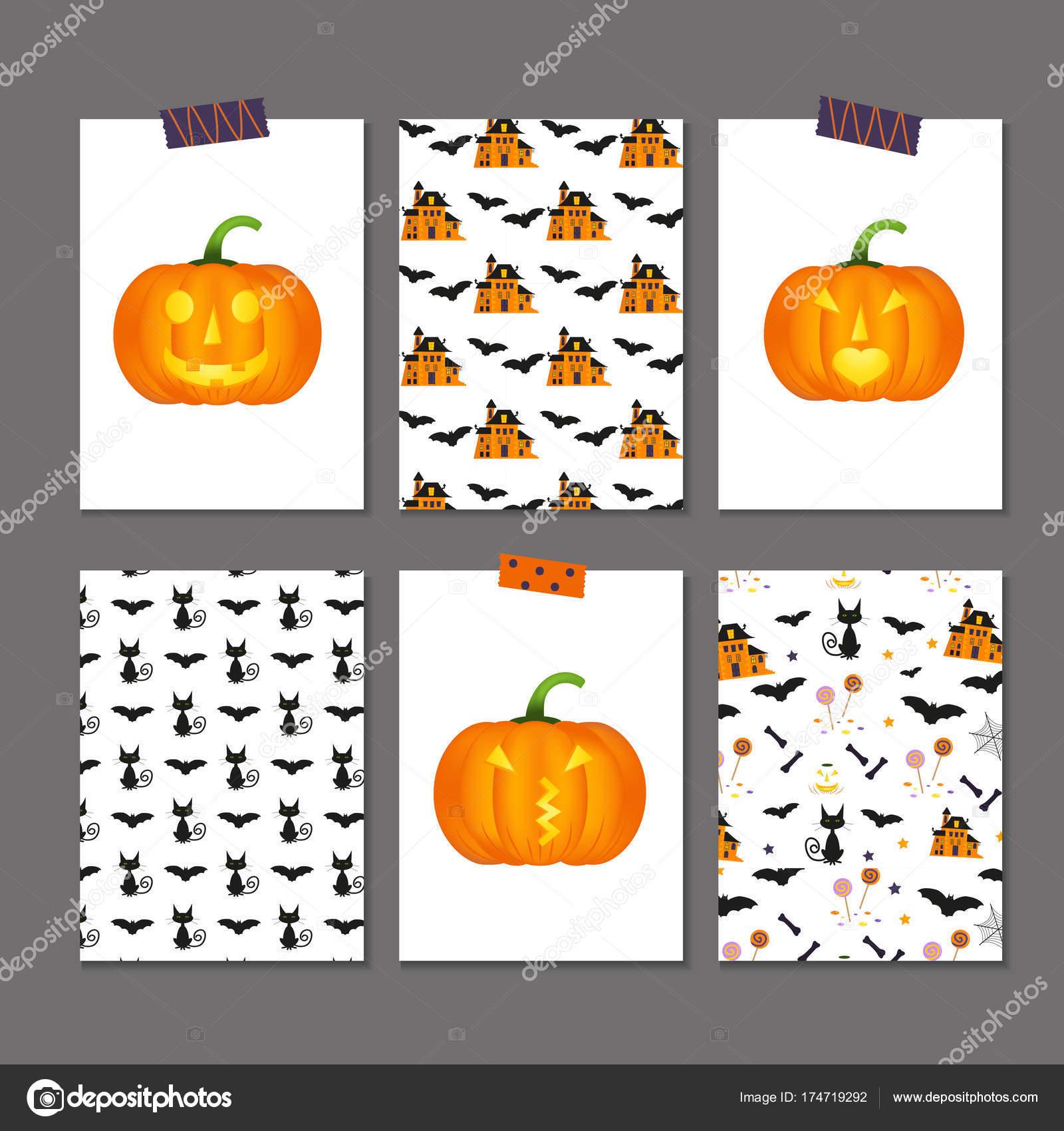 set of 6 cute halloween cards stock vector