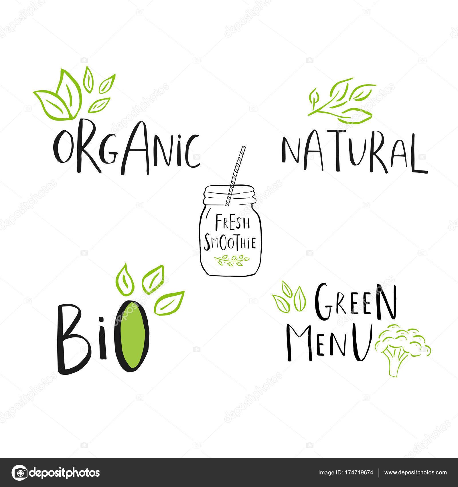 ベクトル グリーン バイオ ロゴやサインです 菜食健康食品バッジ カフェ