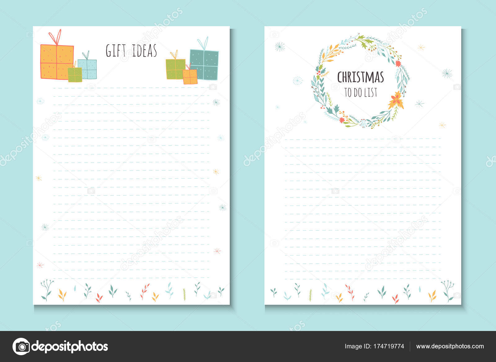 Vacaciones Navidad Para Hacer Listas Notas Lindas Con Ilustración ...