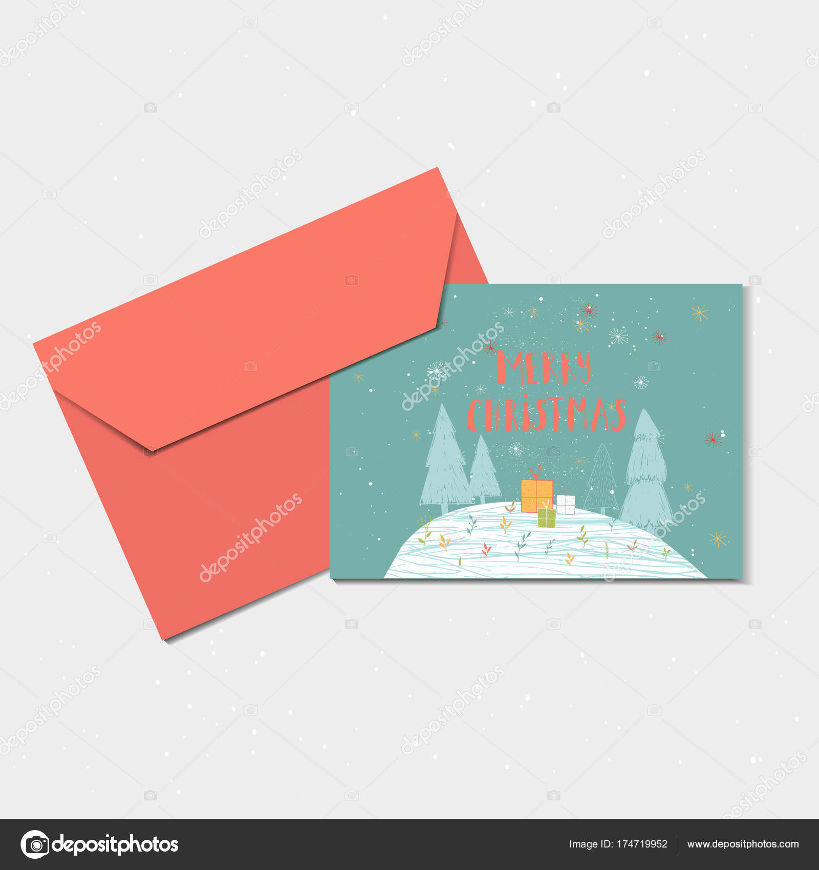 Merry Christmas Cute Greeting Card Forest Envelope Present Hand