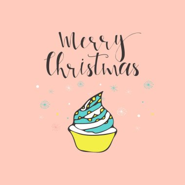 Merry Christmas cute greeting card with cake. Scandinavian style of posters for invitation, children room, nursery decor, interior design.