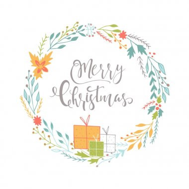 Cute gift card with wreath, presents and hand drawn Christmas lettering. Poster with quote, T-shirt design or home decor element. Vector typography. Easy editable template.