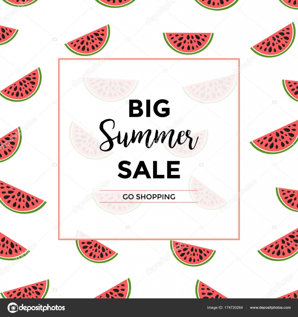 Social Media Sale Banner Summer Special Offer Watermelon Vector - Special offer email template