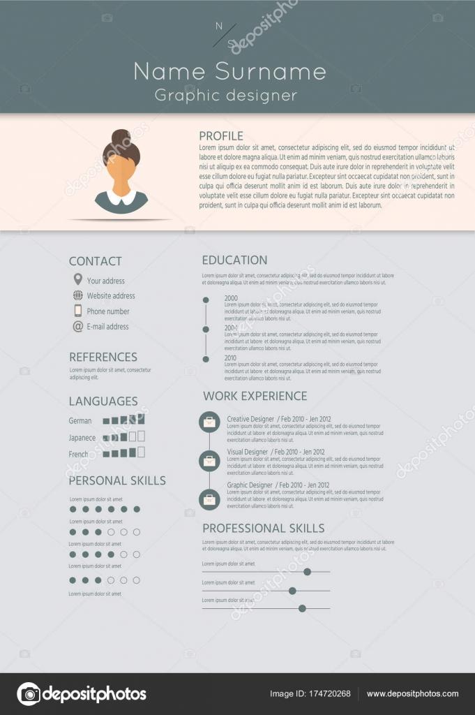 Weiblicher Lebenslauf Mit Infografik Design Stilvolle Für Frauen ...
