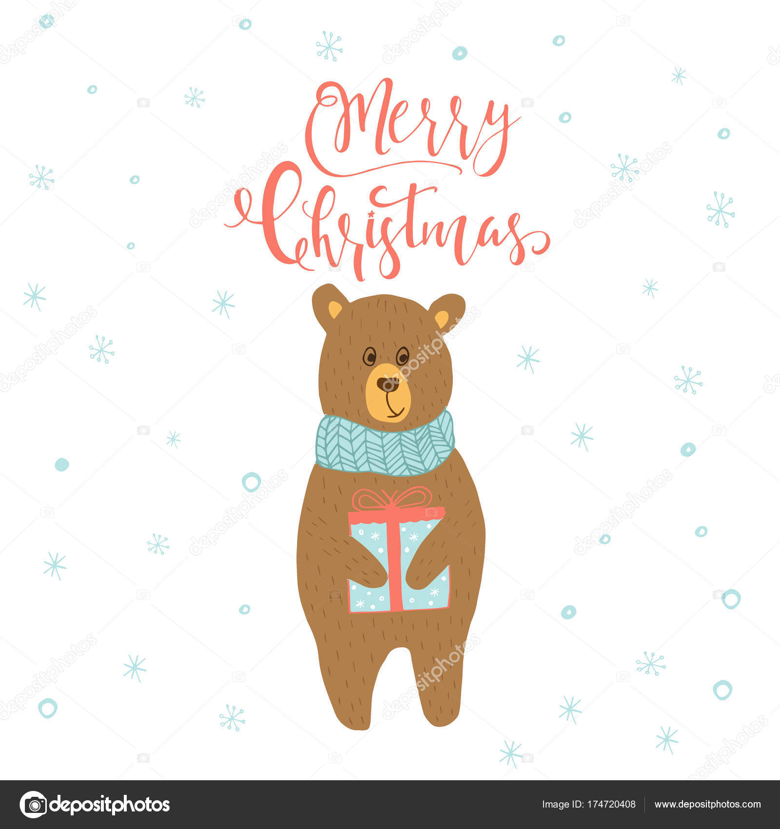 Merry Christmas Cute Greeting Card Bear Gift Presents Hand Drawn