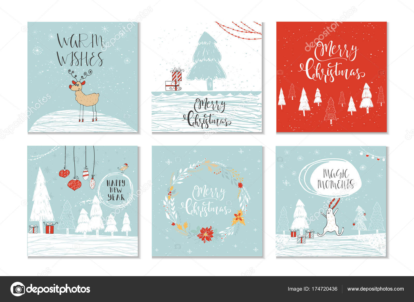 Christmas Gift Card Poster.Set Cute Christmas Gift Cards Quote Merry Christmas Merry