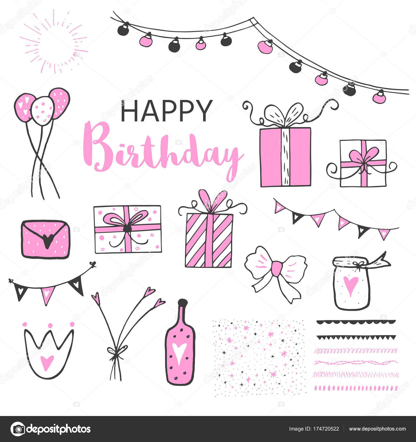 Geburtstag Party Icons Set Schwarz Und Rosa Farben Handgezeichnete ...