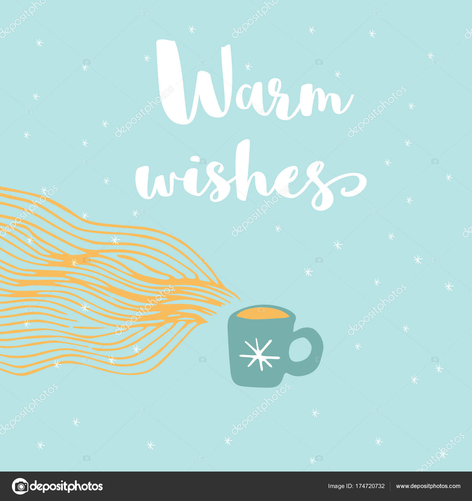 Merry Christmas Cute Greeting Card Warm Cup Phrase Warm Wishes