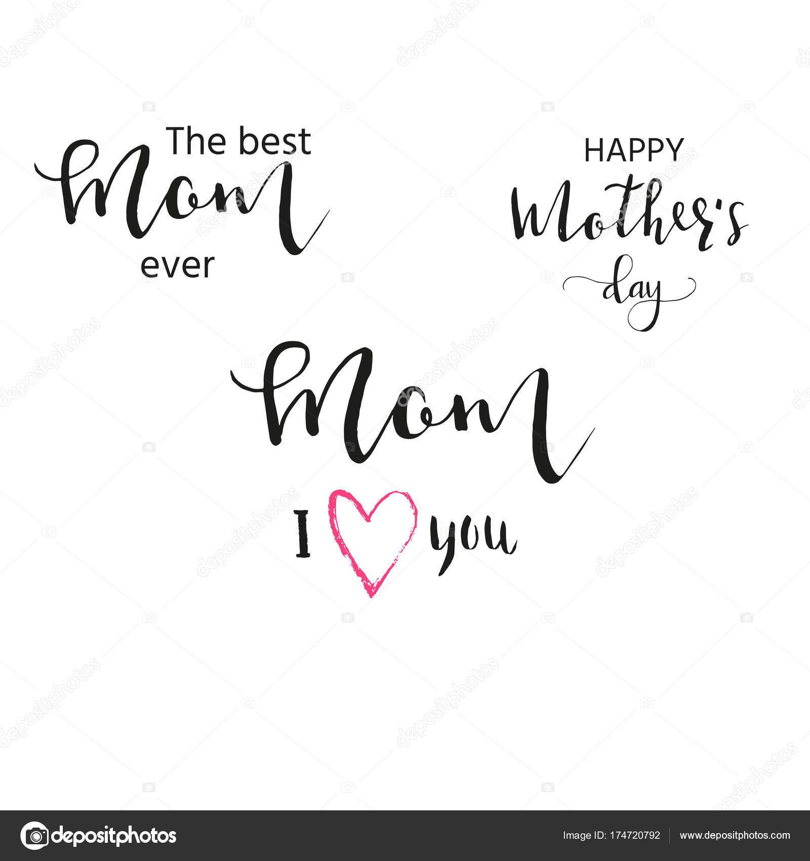 Feliz Dia Das Mães Frases Caligrafia Mão Desenhada Letras Férias