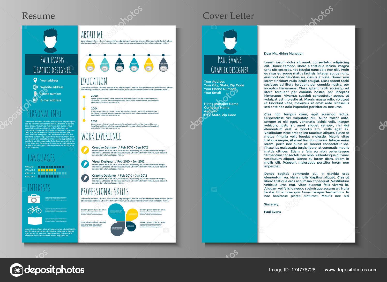 Resume Cover Letter Flat Style Design Grey Background Set Infographics U2014  Stock Vector