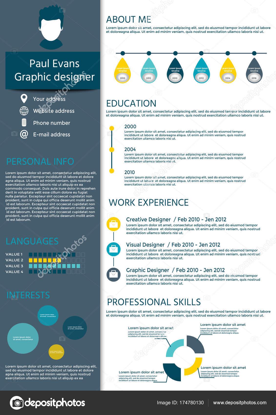 Bunte Lebenslauf Vorlage Flachen Stildesign Moderne Mit Infografiken