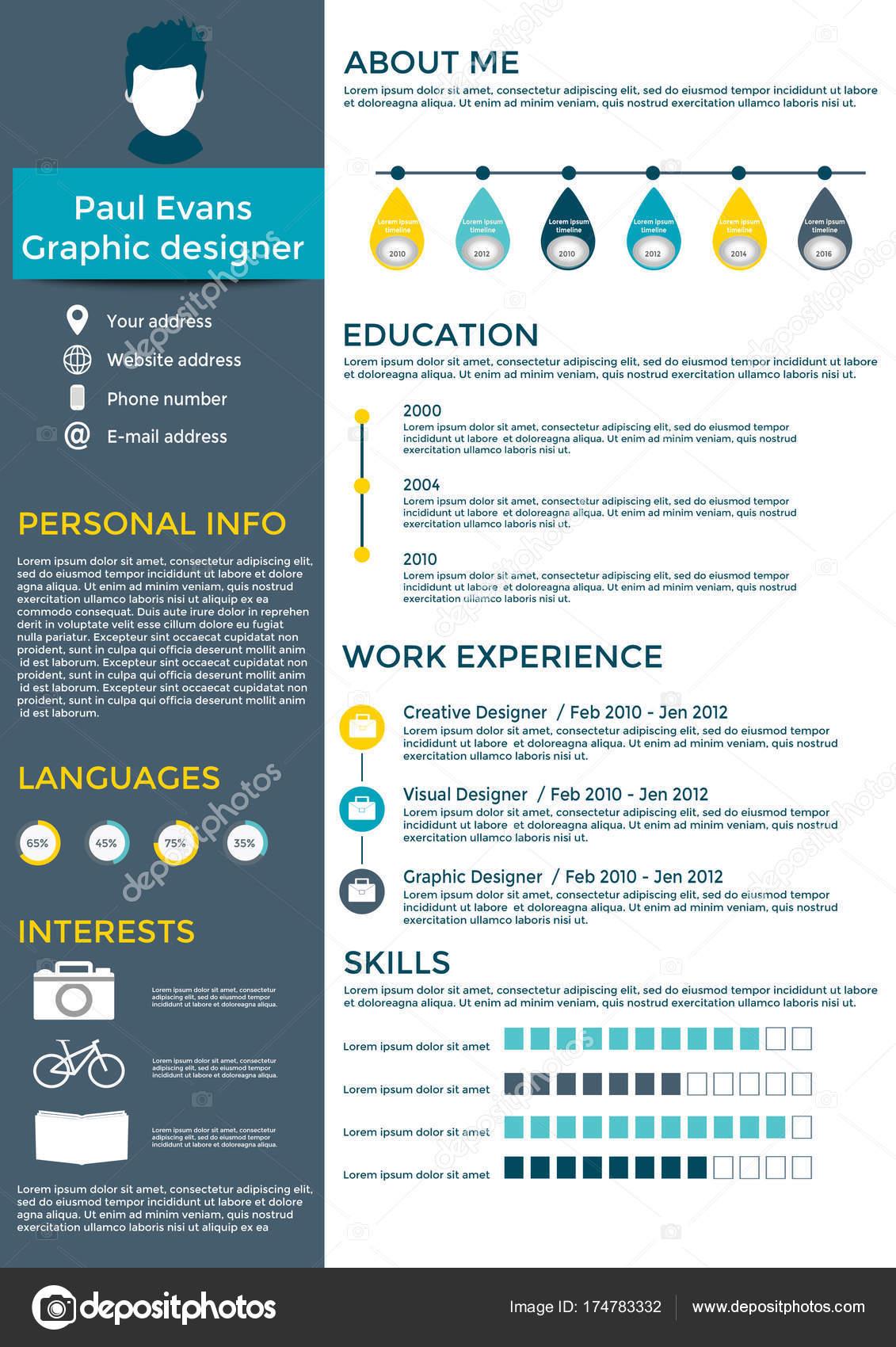 Plantilla Curriculum Colorido Diseño Estilo Plano Moderno Conjunto ...