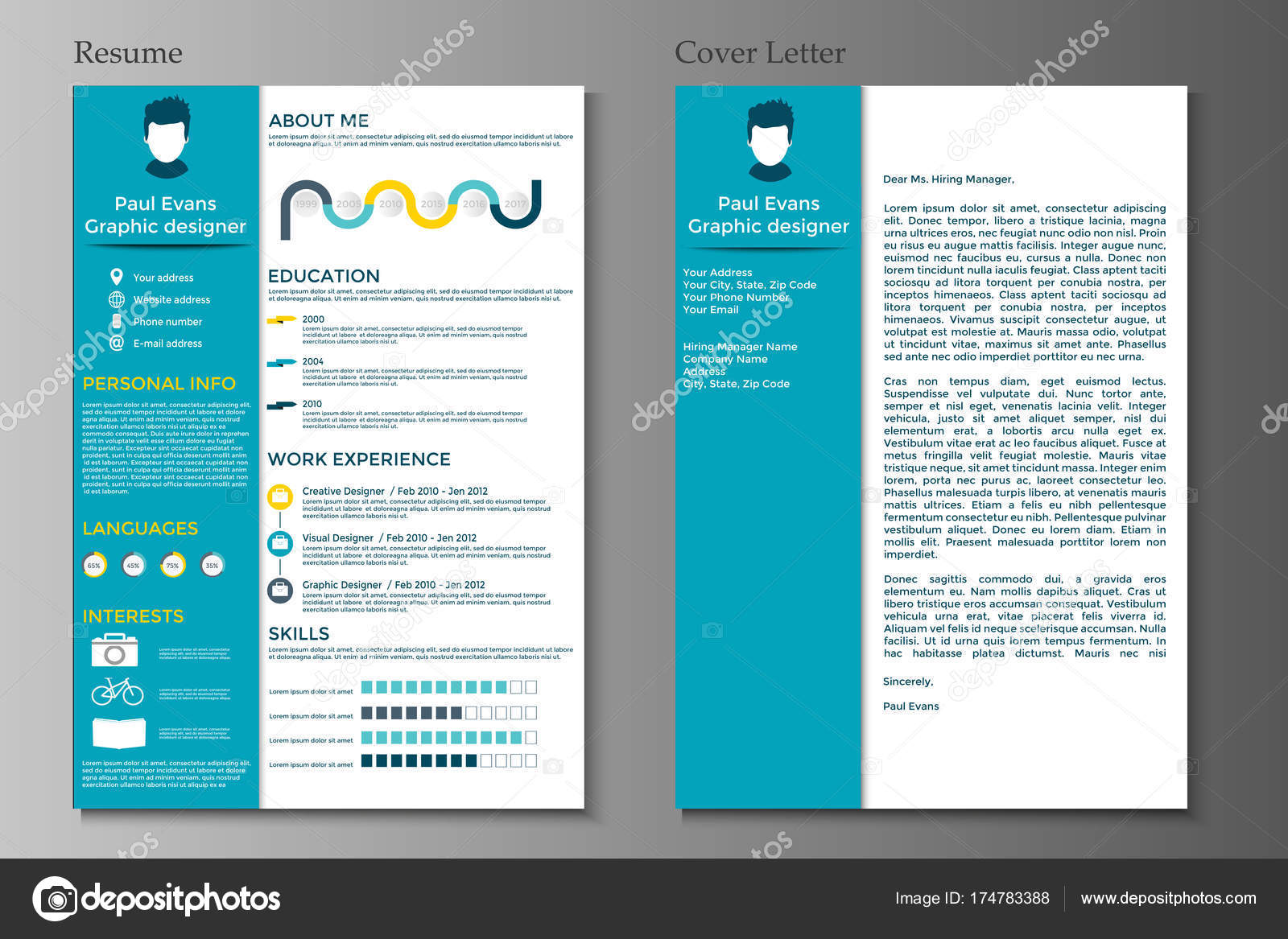 Colorful Resume Template Flat Style Design Modern Set Infographics Elements Stock Vector