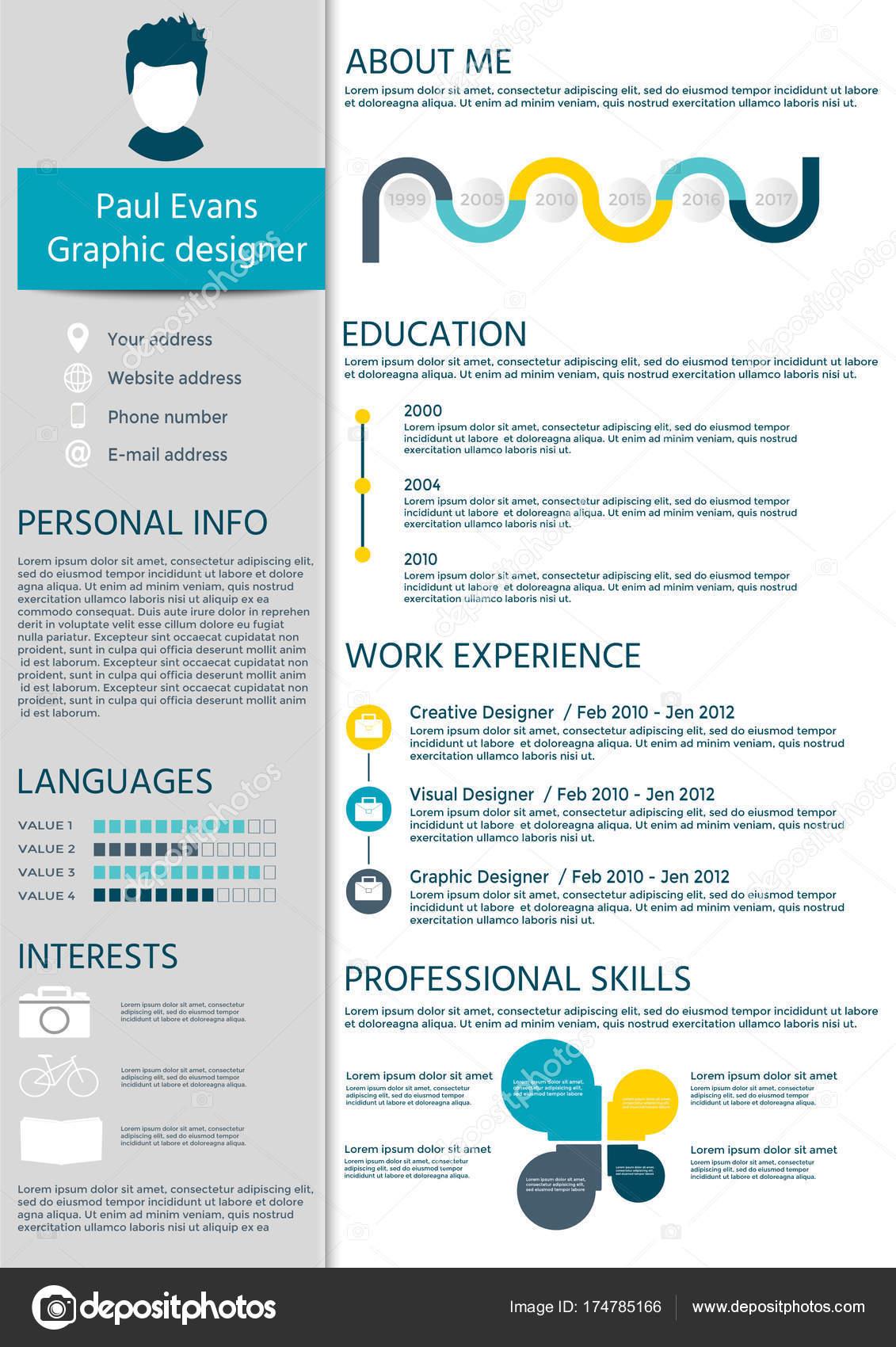 Bunte Lebenslauf Vorlage Flachen Stildesign Moderne Mit Infografiken ...