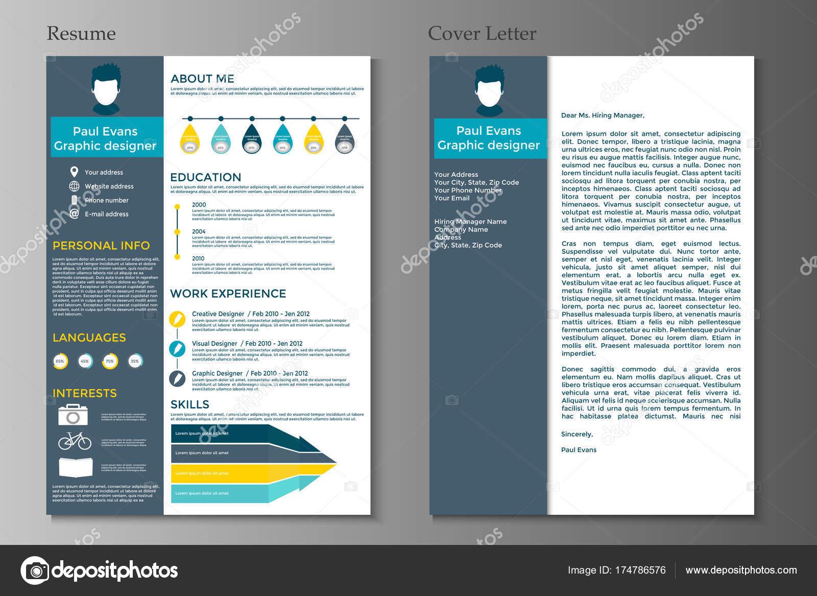 Curriculum Vitae Carta Presentación Diseño Estilo Plano Sobre Fondo ...