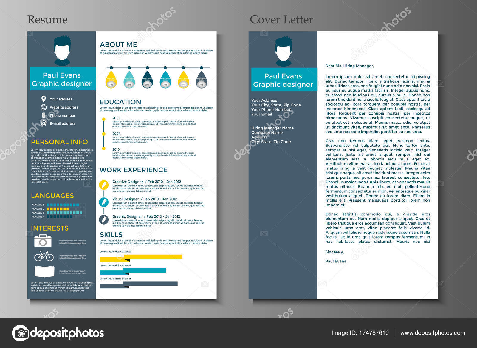 resume cover letter flat style design grey background set infographics stock vector