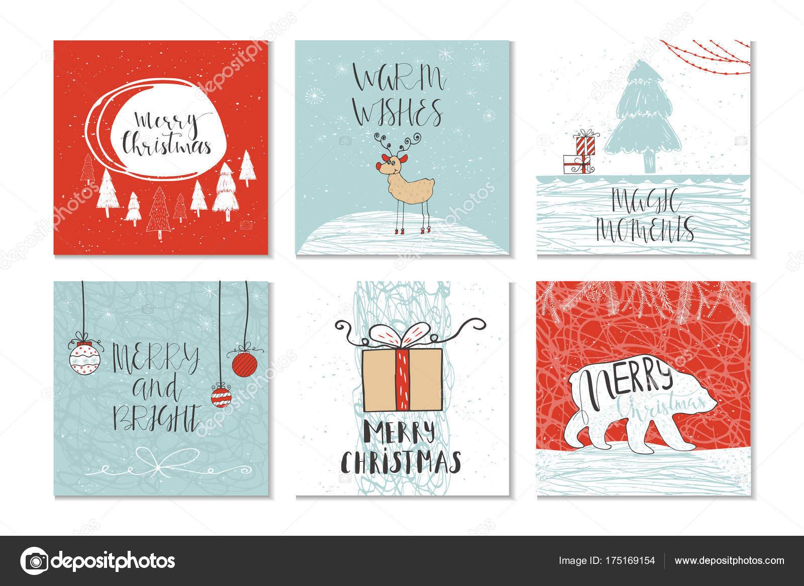 Set Von Niedliche Weihnachtskarten Geschenk Mit Zitat Frohe ...