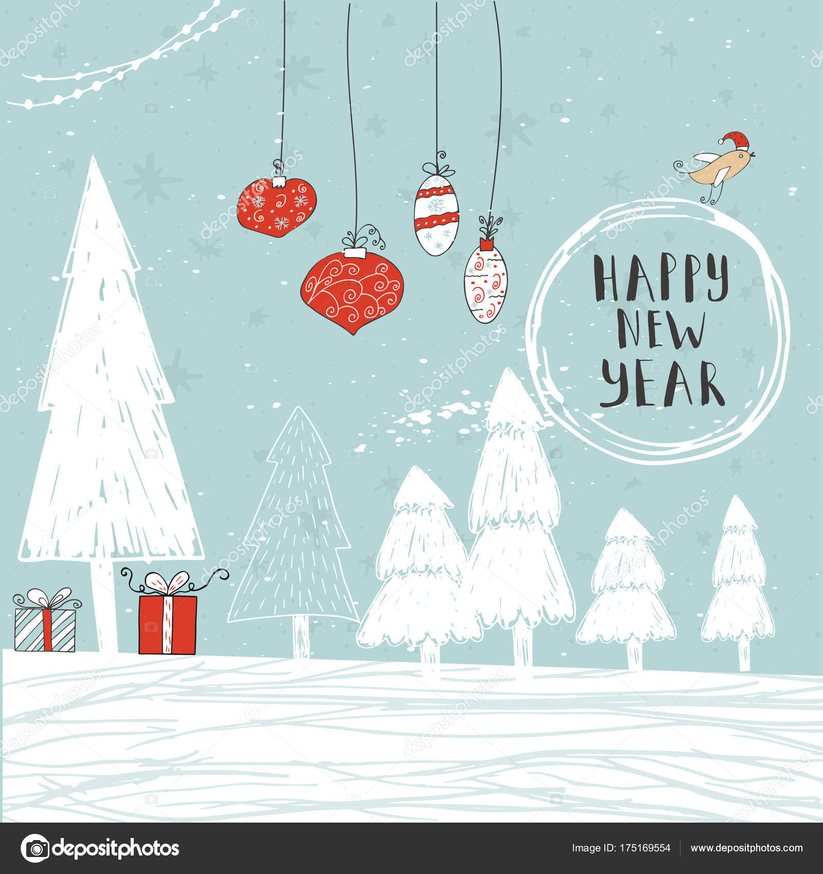 Christmas card text tree presents winter background snow snowflakes christmas card with text tree and presents on a winter background with snow and snowflakes greeting card template poster with hand drawn quote m4hsunfo