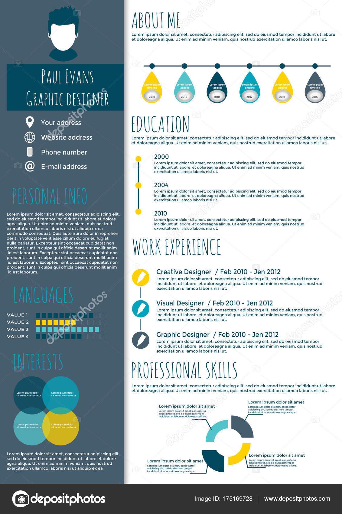 Flache Lebenslauf Infografik design — Stockvektor © TanyaSun #175169728