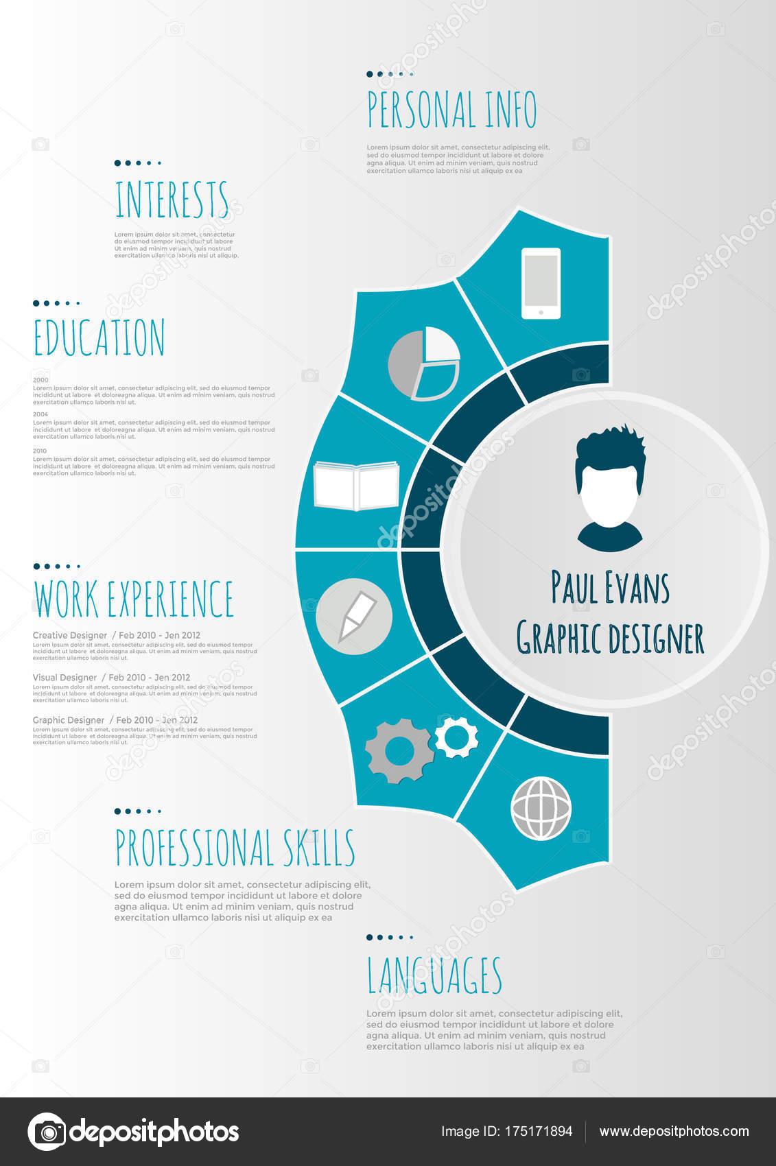 Flache Lebenslauf Infografik design — Stockvektor © TanyaSun #175171894
