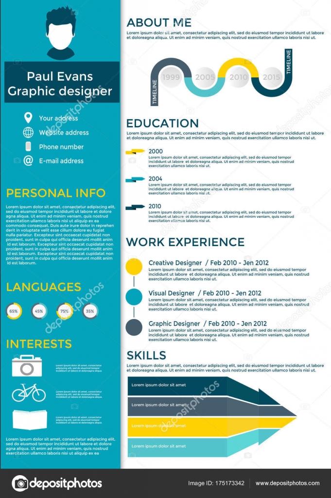 Flache Lebenslauf Infografik design — Stockvektor © TanyaSun #175173342