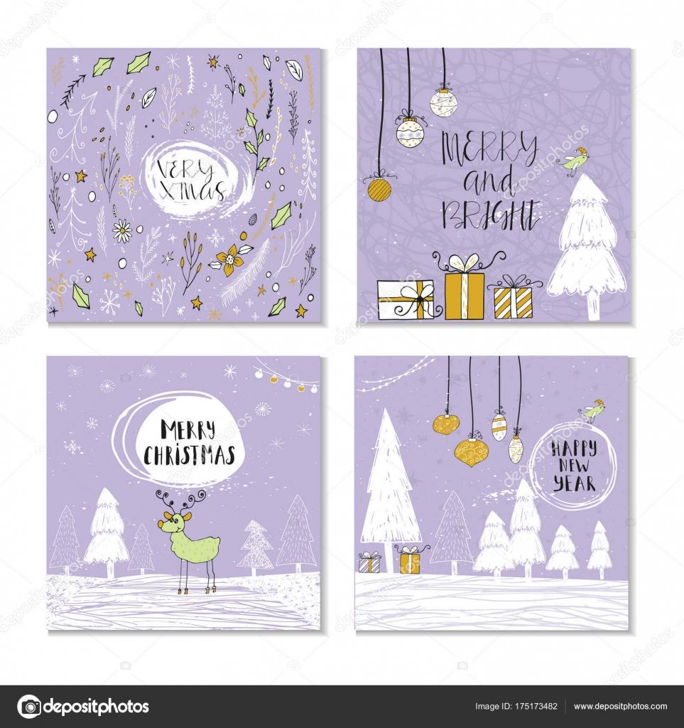 Set Of Christmas Greeting Cards Stock Vector Tanyasun 175173482