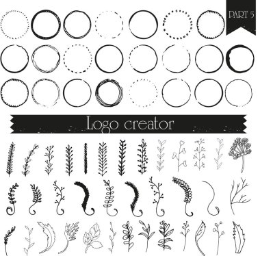 Hand drawn logo elements Design your own perfect logo. Logotype templates. Logo design isolated on background and easy to use. Vector illustration